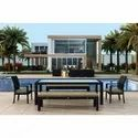 Outdoor Wicker Bench Dining Set