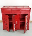 Red ''''Container Style Metal Chest Of Drawers, Container Style Furniture