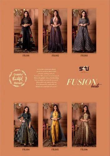 4bd508b9ce S4u Fusion Beats Designer Fancy Printed Western Silk Crop Top With Bottom  And Shrug