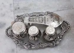 Metal Tray with Serving Set