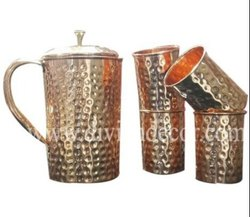 Hammered Copper Jug Set