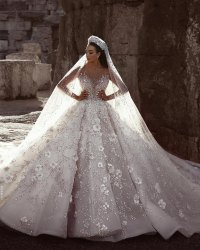 Heavy Beaded White Wedding Gown With Veil, Broad Neck