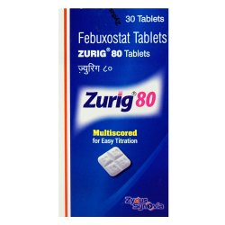 Zurig 80 Febuxostat Tablets, Zydus Synovia, Prescription