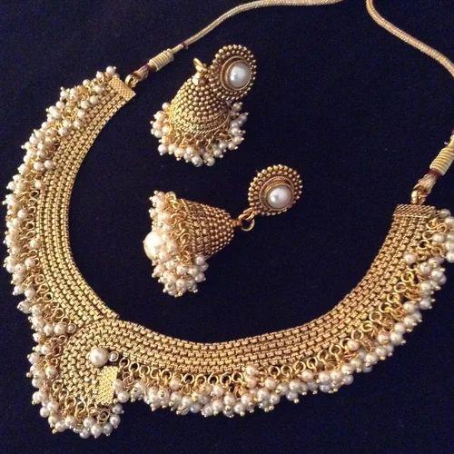 f0a071bd42 Pearl White Bridal Jewellery Set Faux Pearl ADIVA Copper Necklace ...