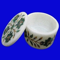 White Marble Round Jewelry Box Multi Floral  Arts Inlay Gifts box