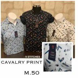 Collar Neck Men Printed Cotton Casual Shirt