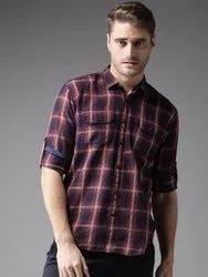 Dennison Men's Maroon Slim Fit Checked Casual Shirt