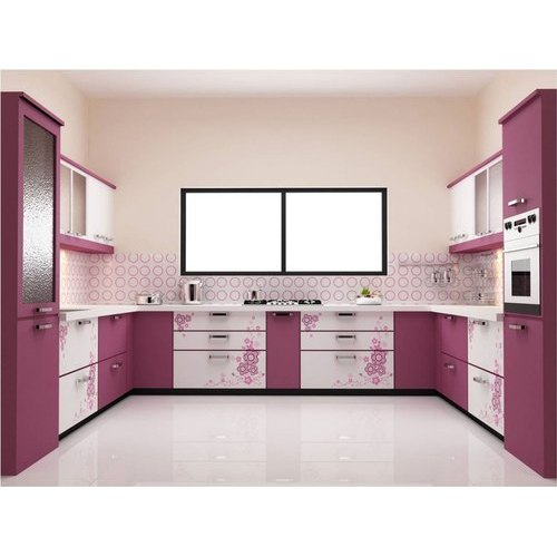 Wooden Pink Modern Design Kitchen Cabinet Rs 1200 Square Feet Kherub Interior Design And Construction Private Limited Id 21171402962