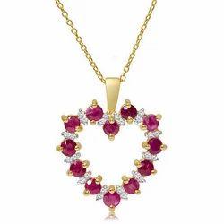 Diamond Pendant Genuine Ruby