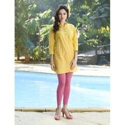 Casual Wear Regular Ladies Plain Cotton Kurti, Wash Care: Machine wash