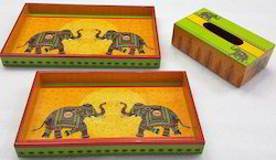 Wood Resin Printed Trays And Tissue Box