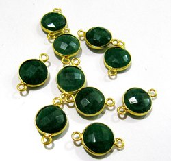 Set Of 6 Piece Emerald Coin Shape Briolette Bezel Connectors Size 10mm.