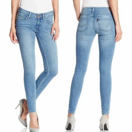 5f22271bf6 Stretchable Ladies Blue Slim Fit Denim Jeans, Waist Size: 28-42 Inch ...