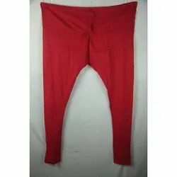 Ladies Red Plain Cotton Lycra Leggings, Size: Available In L,XL and XXL