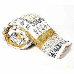 Jaipuri Floral Print Cotton Double Bed Quilt 319