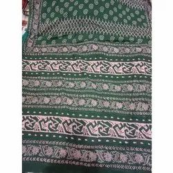 Green Printed SAREE PRINTING SERVICES, With blouse piece, 6 Meter