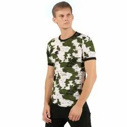 Army Pattern Round Neck T Shirt for Mens