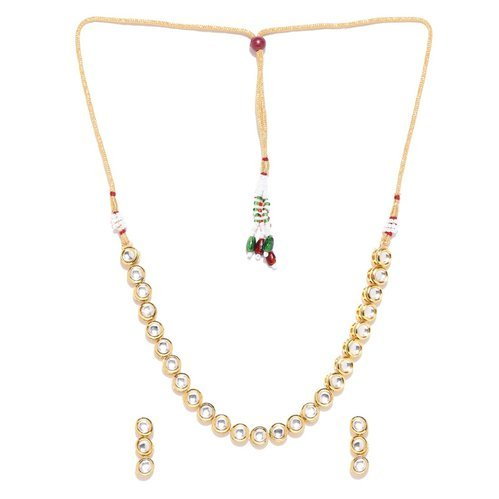 5d583b73aca Ankur Delicate Gold Plated Single Strand Kundan Necklace Set For Women