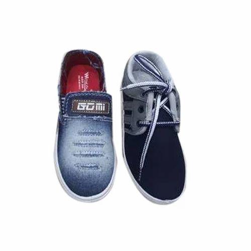 Boy Plain Denim Shoes, Packaging: Box