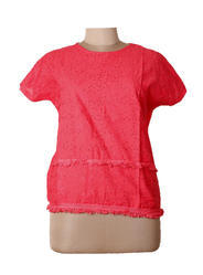 Women Peach Embroidery Top