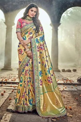 c10f17ab44 Banarasi Silk Floral Resham Dhaga Saree, 6.3 M (With Blouse Piece ...