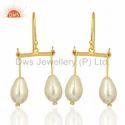 Natural Pearl Gemstone Silver Earrings