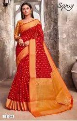 Red Color Fancy Rapier Silk Saree