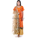 Palazzo Woman Orange Gold Embroidered Suit, Net