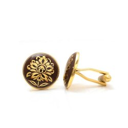 Hand Painted Golden Motif On Brown Enamel 92.5 Sterling Silver Cufflinks