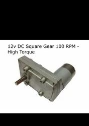 12v DC Square Gear / Geared Motor 100 RPM - High Torque