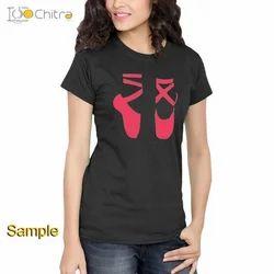 Women Cotton Half Sleeve Printed Black T Shirt, Size: S, M, L & XL