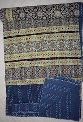 Hand Block Print Kantha Quilt Ajrakh Kantha Bed Cover Throw Indian Bedspread