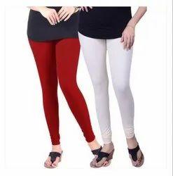 Plain Red, White Lyra Woolen Churidar Leggings