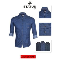 Solid Regular Fit Mens Blue Denim Shirt