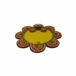 Wooden Paper Mache Flower Shape Matki Pooja Thali