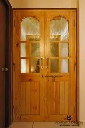 Wood Polished Interior Decorative Doors, Brown