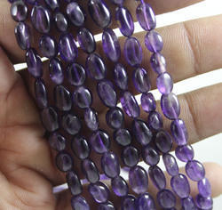 Purple Amethyst Plain Oval Shapes Beads