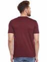 Cotton Men Maroon Round Neck T-Shirt