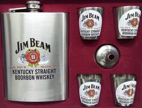 Jim Beam Stainless Steel Hip Flask Gift Set Box 8 Oz 230 M
