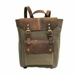 High Quality Waxed Canvas With Leather Backpack For Short Trips Available In Ready Stock