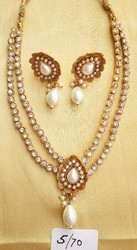 Vardharman Goodwill Green Enamel Coated Brooch Style Long Necklace and Earrings Set