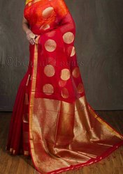 Zari Work Jamdani Handloom Designer Sarees, 6 m (with blouse piece)