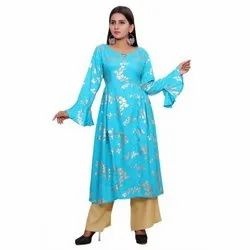 Party Wear Foil  Rayon Long Kurti