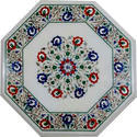 White Octagonal Marble Inlay Mother Of Pearl Stone Table Top