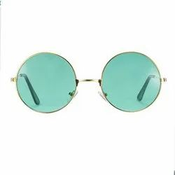Round Golden Green Colour Sunglasses For Mens And Women