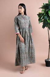 Hand Block Print Soft Cotton Maxi Dress