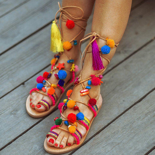 dc5935284e94 Jodaas Handicrafts Daily and Party Wear Ladies Knee-High Pompom Sandals