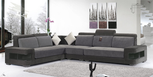 Wood And Leather 6 Seater L Shape Sofa