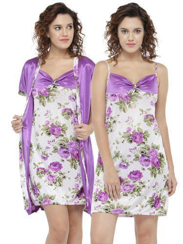 Satin Short Length N-Gal Women Midi Nighty With Robe 9aa0066d3