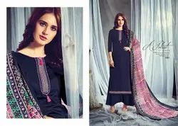Embroidered Jam Satin Churidar Suit Set